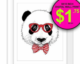 Hipster Panda Wall Art Print, Instant Download, 8x10 Inch, Printable, Panda, Illustration, Reading Glasses, Bow, Kids Room, Nursery Decor