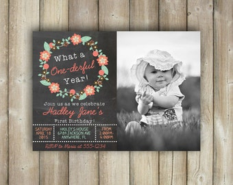 FIRST BIRTHDAY INVITATION - What a One-Derful Year - One-derful Year Birthday Invite - Girls 1st Birthday Invite - Digital File - Printable