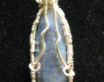 Silver Wire Wrapped Blue Pendant