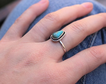 Made to Order, Simple Genuine Royston Turquoise Ring, Sterling Silver Ring, Choose Your Stone