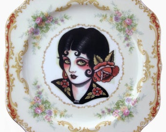 SALE - Damaged - Rose, Vintage Tattoo Flash Portrait Plate 8""