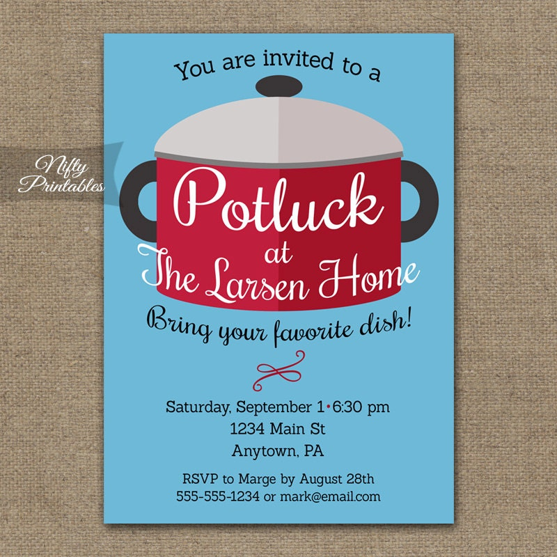 Potluck Invitations Printable Pot Luck Dinner Party Invites