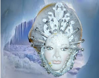 The ice maiden, polymer clay face.necklace