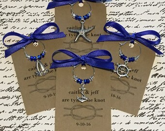 100-200 Custom Nautical Themed Wine Charm Favors - Weddings, Bridal Shower, Rehearsal Dinner, Anniversary, Birthday Party or Special Event