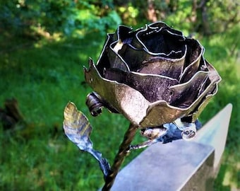 Steel Hand Forged Realistic Forever Rose