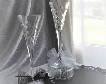 Toasting Glasses Hand Painted Made In Italy For The Bride And Groom Or Special Anniversary Toast Crystal Champagne Painted by handcraftUSA