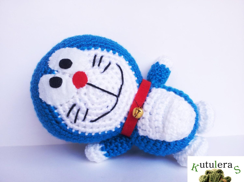 Crochet Doraemon Amigurumi : Doraemon cosmic cat 7'' anime manga japan blue bell