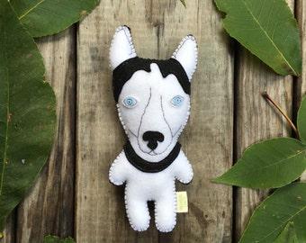 Felt Stuffed Husky, Husky toy, Stuffed Dog, Felt Dog, Stuffed  Dog