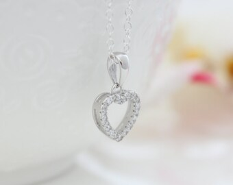 Silver Heart Necklace • Silver necklace with crystals paved heart pendant • Anniversary gift