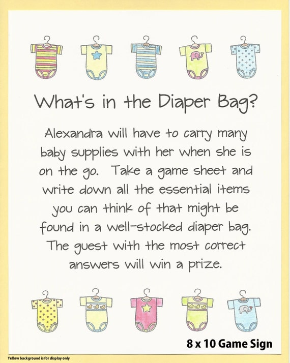 Whatu0027s In The Diaper Bag Baby Shower Game Stock The