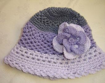 Crochet Girls Hat with Flower