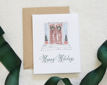 Box of 8 Watercolor Holiday Card, Christmas Card Set, Holiday Cards, Modern Calligraphy, Scenery, Wreath, Holiday Home, Home for Holidays