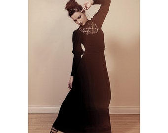 Victorian Dress in Black Lace/Long Bishop Sleeves-Made to Order