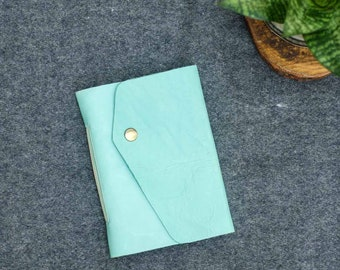 Mint & Beige Leather Pocket Journal