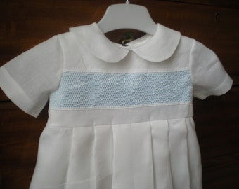 Baby boy christening gown. Vintage style gown. Irish linen and Cluny  lace.  White or Ivory Baptism gown.