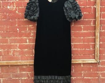 80s Black Velvet Puffy Sleeve Dress