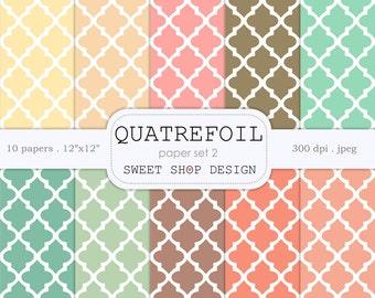 Digital Paper, Printable Scrapbook Paper Pack, 12x12, Quatrefoil Lattice N02, Set of 10 Papers