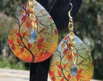 Fall Tree Teardrop Earrings
