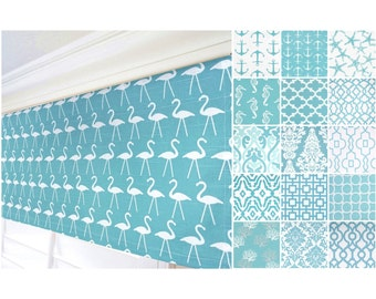 Aqua Valance Curtain.Blue Grey Curtain.Nautical Anchor Curtain Valance.Kitchen Valance.Morrocan Valance Curtain.Flamingo Valance