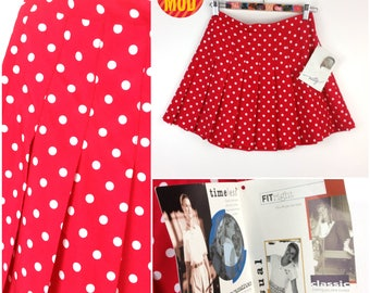 DEADSTOCK - Adorable Vintage 90s Red & White Polkadot Mini Pleated Tennis Skirt with Original Tags!