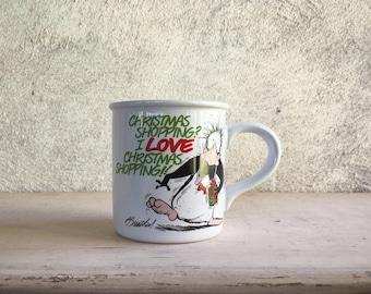 Funny coffee mugs Otis n Bill comic strip Christmas Shopping vintage mugs