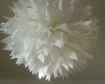 OPTIC WHITE paper pom / tissue paper wedding decorations / party poms / bar mitzvah / baptism / christening / white flower decorations