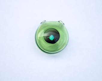 Green Hollow Glass Pendant with Opal