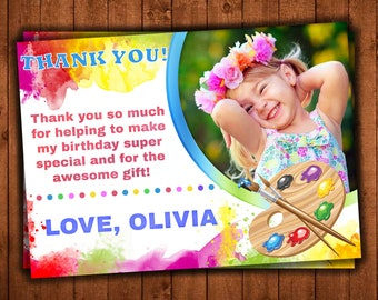 Paint Thank you card, Art paint Birthday Party, Party Girl Printable thank you cards, Art digital file Photo, PERSONALIZED