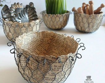 Dictionary Chickenwire Bowl Paper Mache Book Pages Chicken Wire Papier Mache Handmade