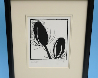 Teasels. Nature inspired limited edition linocut prints