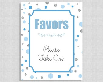 Baby Shower Favor Sign, Blue and Silver Dots, Baby Boy Favor Shower Table Sign, INSTANT PRINTABLE