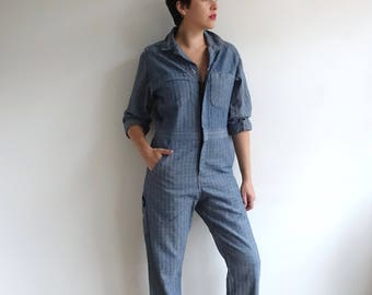Vintage Herringbone Twill Coveralls/ Blue Jumpsuit/ Workwear Uniform/ Made in USA/ Size 38 Small Medium