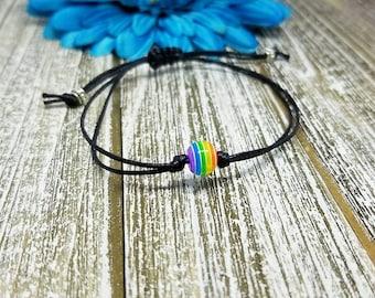 Rainbow Bracelet, Rainbow Bead Bracelet, Beaded Bracelet, Bracelet, Macrame, Friendship, String Bracelet, Minimalist, LGBT, Pride