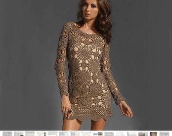 Crochet dress PATTERN, detailed tutorial in ENGLISH, designer trendy crochet dress pattern, Eternal Sunshine Creations crochet dress pattern