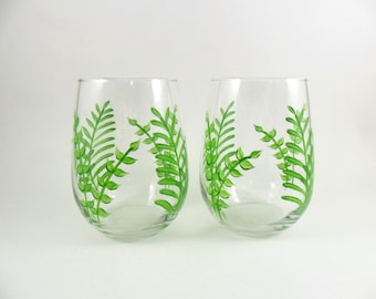 Stemless Wine Glasses Ferns Hand Painted Set of 2