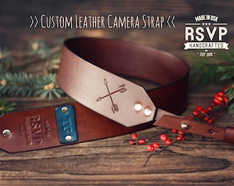 Custom Leather Camera Strap, Handmade personalized gift, Brown stain, Crossed arrows, arrow, Custom name, initials