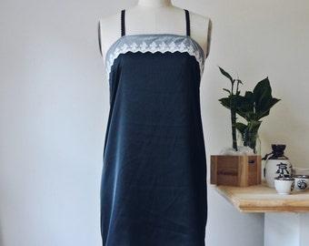 MORELLE Cream & Black Lace Tulle Nightie Bralette Sleepwear Satin