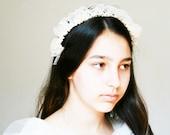 Ethereal French Antique Bridal Garland Art Nouveau Headdress Halo Crown Vintage Tiara Flower Blossom Wedding Goddess Heirloom Wax Halloween
