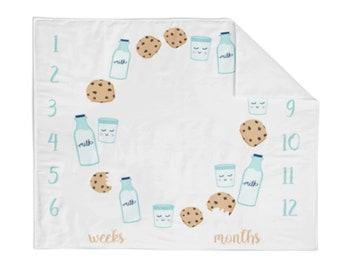 Monthly Milestone Blanket Cookies and Milk - Crib Blanket - Baby Blanket - Unicorn Blanket - Monthly Counter Blanket - Baby Gift