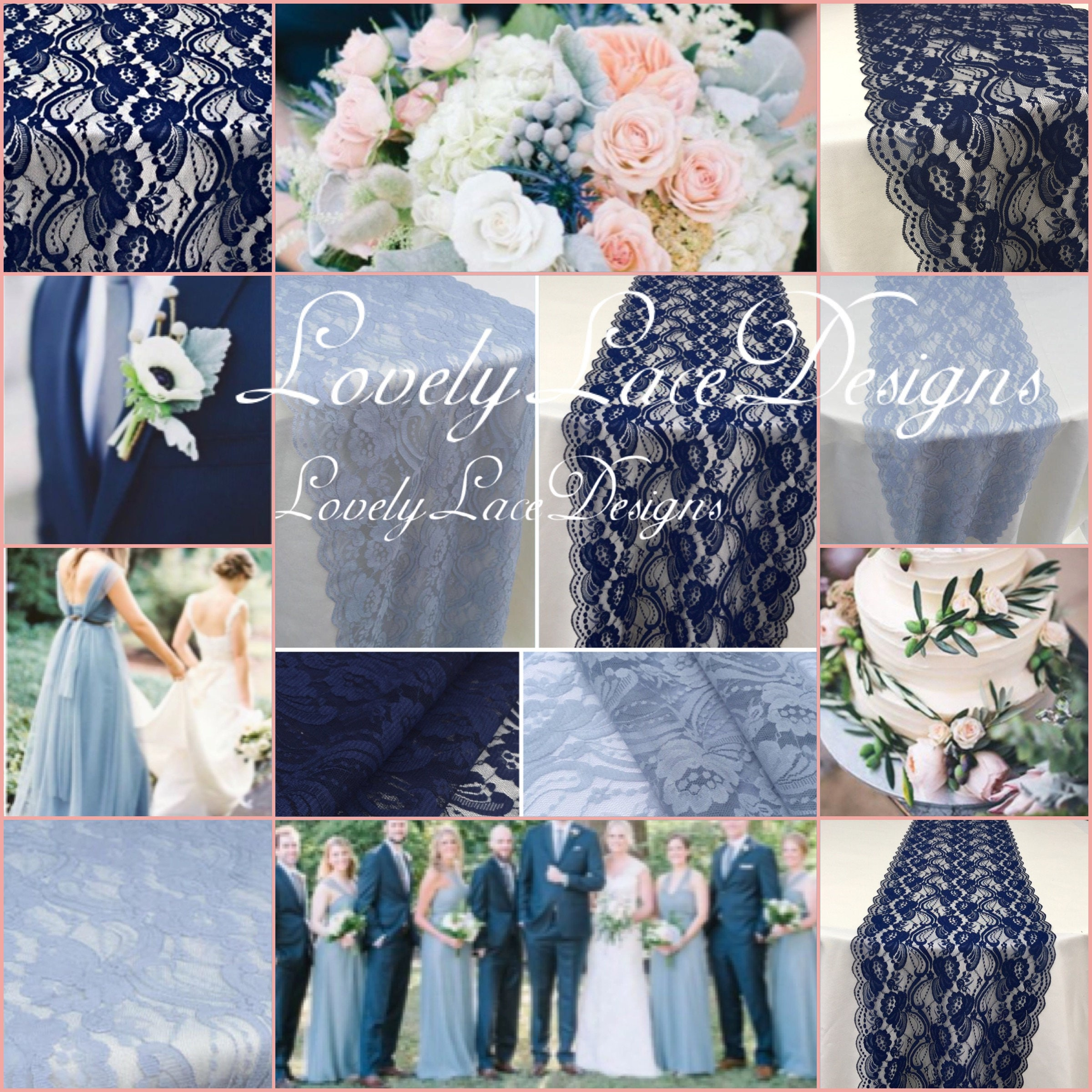 Navy Bluedusty Blue Lace Runners12ft 20ft Long X 12in Widewedding