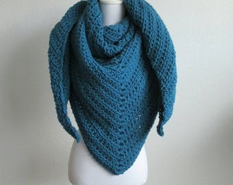 Crochet shawl in the color petrol blue, crochet scarf with leather label, gift for women