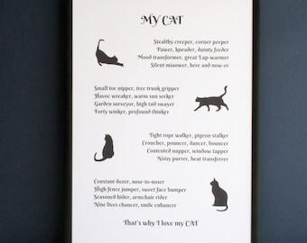 My cat poem, cat poem, cat lover poem, gift for cat lover, personalised cat poem, poem about cats, poem about my cat, I love my cat poem