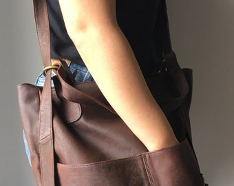 Womens backpack rucksack convertible bag,handcrafted from quality leather.Customise it, leather backpack with pockets, leather rucksack