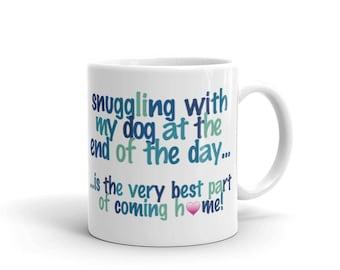 snuggling with my dog - Mug