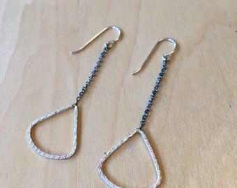 Silver scone dangle earrings