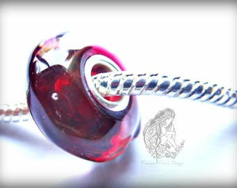 European Charm Style Lampwork Glass Bead, Ready to Ship, Large Hole,  Handmade, Flameworked