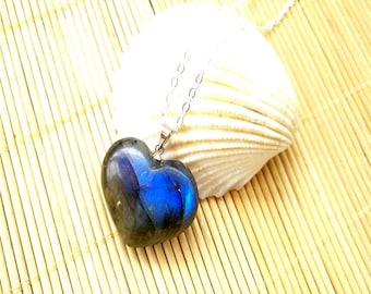 Natural long stone heart necklace