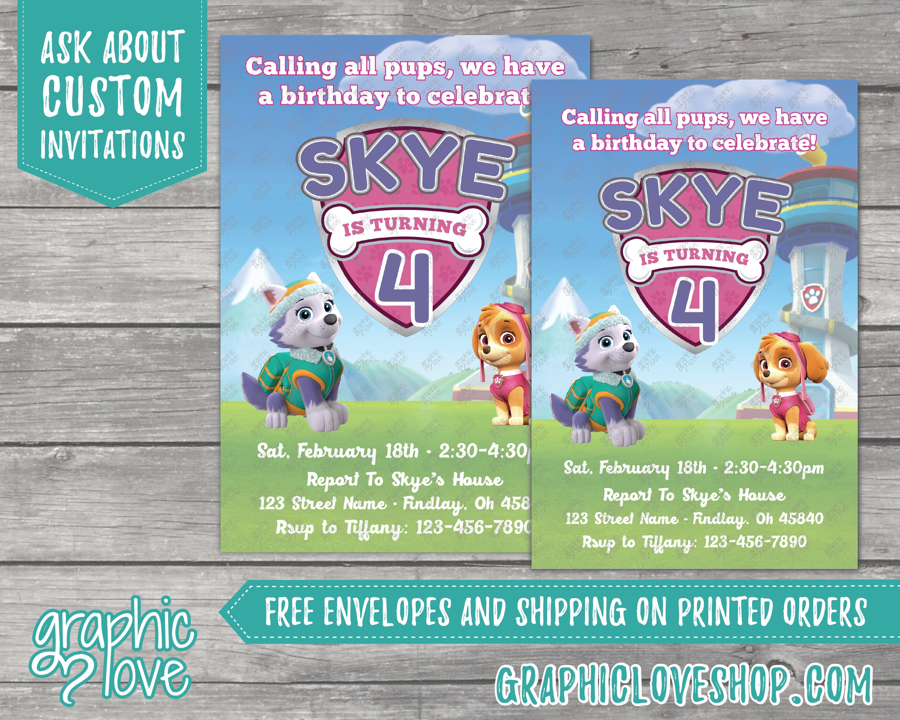 Paw Patrol Skye And Everest Personalized Birthday Invitations