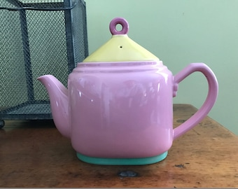 Lindt Stymeist COLORWAYS Teapot .  Pink/Yellow/Green .  4 Cup . Stoneware . 1980s . Harder to Find Color . Made in Japan . Original Label