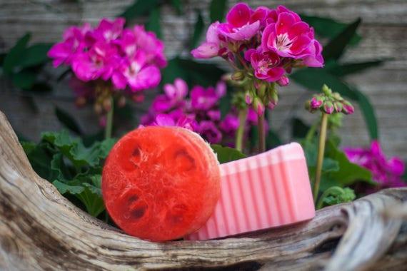 Cleopatra (Rose Lemon & Geranium)Natural Loofah Exfoliating Glycerin Soap
